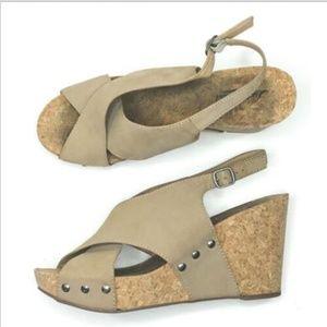 Lucky Brand Platform Cork Wedge Slingback Heels
